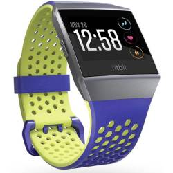 FitBit Ionic Sport Blue Yellow Small Reserve armband Maat S Kobalt blauw Lime