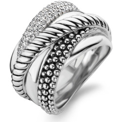TI SENTO Milano Ring 12003ZI Maat 58 (18 5 mm) Gerhodineerd Sterling Zilver