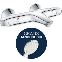 Badkraan Grohtherm 1000 New Cool Touch 15cm Hartafstand Thermostatisch Opbouw Rond Chroom 2 Greeps