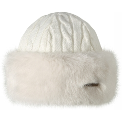 Barts Muts Fur Cable Bandhat voor dames Wit