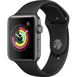 Apple 42 mm Aluminium kast Spacegrijs Sportband Zwart